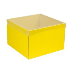Darčeková krabica s priehľadným vekom 300x300x200 mm, žltá
