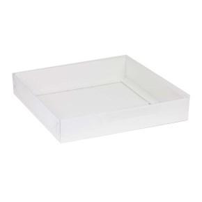 Darčeková krabica s priehľadným vekom 300x300x50 mm, biela