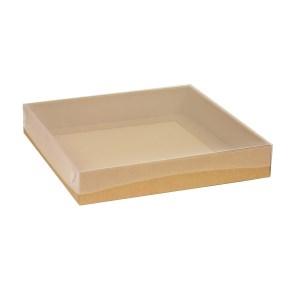 Darčeková krabica s priehľadným vekom 300x300x50 mm, hnedá - kraft