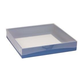 Darčeková krabica s priehľadným vekom 300x300x50 mm, modrá