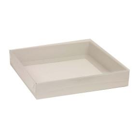 Darčeková krabica s priehľadným vekom 300x300x50 mm, sivá