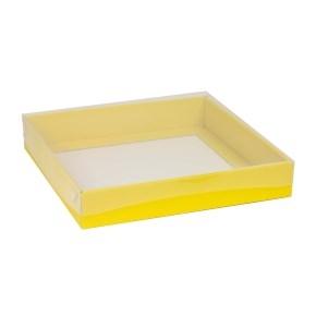 Darčeková krabica s priehľadným vekom 300x300x50 mm, žltá