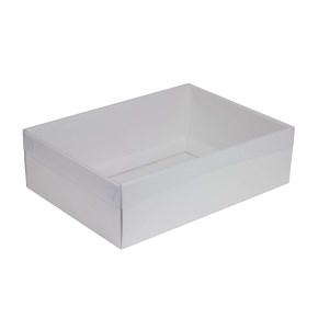 Darčeková krabica s priehľadným vekom 350x250x100/35 mm, biela
