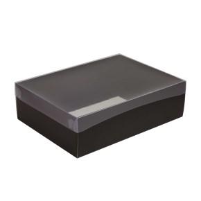 Darčeková krabica s priehľadným vekom 350x250x100/35 mm, čierna