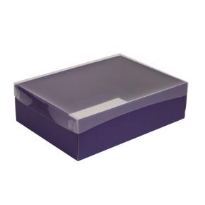 Darčeková krabica s priehľadným vekom 350x250x100/35 mm, fialová