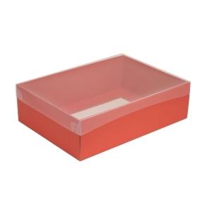 Darčeková krabica s priehľadným vekom 350x250x100/35 mm, koralová