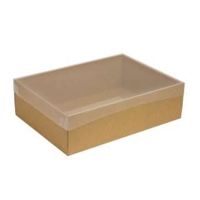 Darčeková krabica s priehľadným vekom 350x250x100/35 mm, kraftová - hnedá