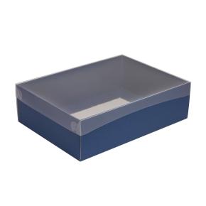 Darčeková krabica s priehľadným vekom 350x250x100/35 mm, modrá