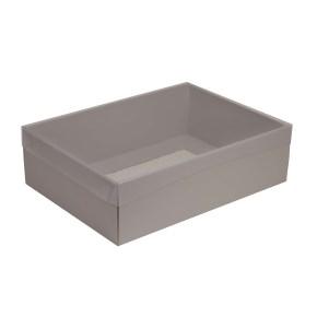 Darčeková krabica s priehľadným vekom 350x250x100/35 mm, sivá