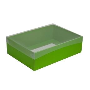 Darčeková krabica s priehľadným vekom 350x250x100/35 mm, zelená