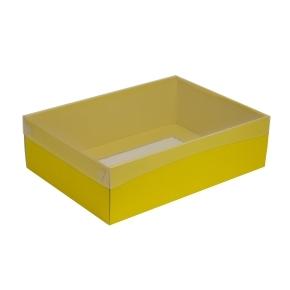 Darčeková krabica s priehľadným vekom 350x250x100/35 mm, žltá