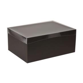 Darčeková krabica s priehľadným vekom 350x250x150 mm, čierna