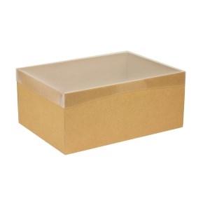 Darčeková krabica s priehľadným vekom 350x250x150 mm, hnedá - kraft