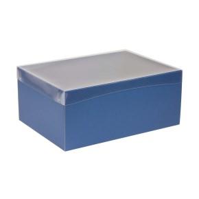 Darčeková krabica s priehľadným vekom 350x250x150 mm, modrá