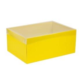 Darčeková krabica s priehľadným vekom 350x250x150 mm, žltá