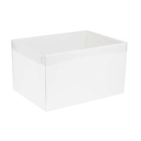 Darčeková krabica s priehľadným vekom 350x250x200 mm, biela