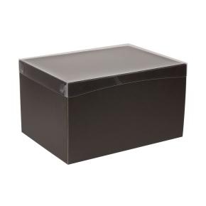 Darčeková krabica s priehľadným vekom 350x250x200 mm, čierna