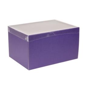 Darčeková krabica s priehľadným vekom 350x250x200 mm, fialová