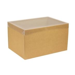 Darčeková krabica s priehľadným vekom 350x250x200 mm, hnedá - kraft