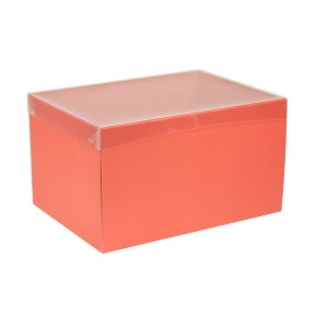 Darčeková krabica s priehľadným vekom 350x250x200 mm, koralová