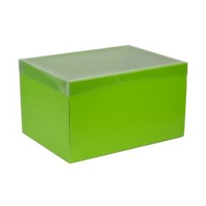 Darčeková krabica s priehľadným vekom 350x250x200 mm, zelená