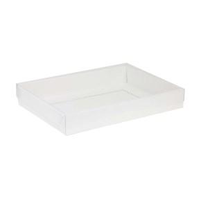 Darčeková krabica s priehľadným vekom 350x250x50 mm, biela