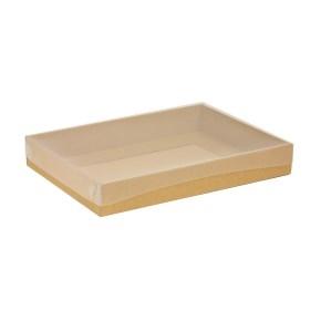Darčeková krabica s priehľadným vekom 350x250x50 mm, hnedá - kraft