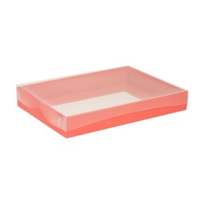 Darčeková krabica s priehľadným vekom 350x250x50 mm, koralová