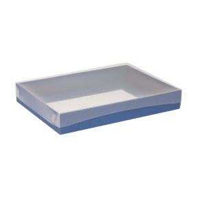 Darčeková krabica s priehľadným vekom 350x250x50 mm, modrá