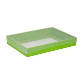 Darčeková krabica s priehľadným vekom 350x250x50 mm, zelená