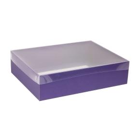 Darčeková krabica s priehľadným vekom 400x300x100 mm, fialová