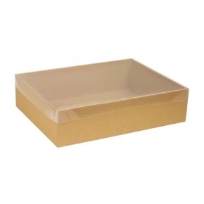 Darčeková krabica s priehľadným vekom 400x300x100 mm, hnedá - kraft