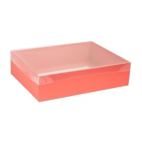 Darčeková krabica s priehľadným vekom 400x300x100 mm, koralová