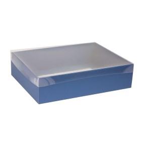 Darčeková krabica s priehľadným vekom 400x300x100 mm, modrá