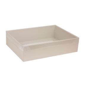 Darčeková krabica s priehľadným vekom 400x300x100 mm, sivá