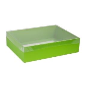 Darčeková krabica s priehľadným vekom 400x300x100 mm, zelená