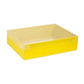Darčeková krabica s priehľadným vekom 400x300x100 mm, žltá