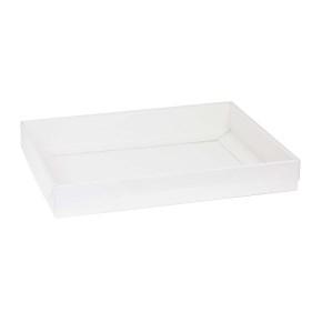 Darčeková krabica s priehľadným vekom 400x300x50 mm, biela