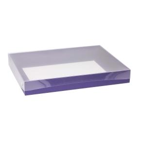 Darčeková krabica s priehľadným vekom 400x300x50 mm, fialová