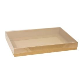 Darčeková krabica s priehľadným vekom 400x300x50 mm, hnedá - kraft