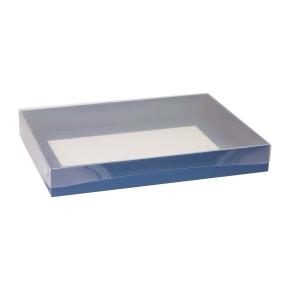 Darčeková krabica s priehľadným vekom 400x300x50 mm, modrá