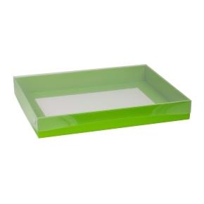 Darčeková krabica s priehľadným vekom 400x300x50 mm, zelená