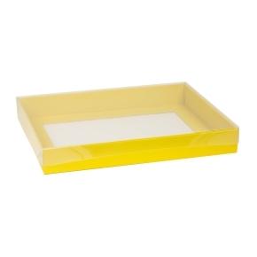 Darčeková krabica s priehľadným vekom 400x300x50 mm, žltá