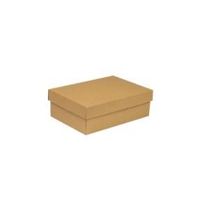 Darčeková krabica s vekom 300x200x100 mm, hnedá - kraft