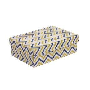 Darčeková krabica s vekom 300x200x100 mm, VZOR - CIK CAK modrá/žltá