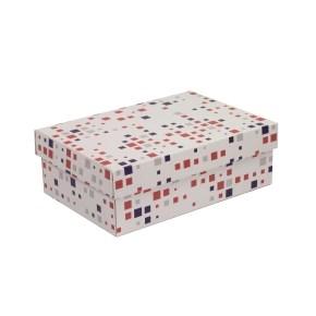 Darčeková krabica s vekom 300x200x100 mm, VZOR - KOCKY fialová/koralová