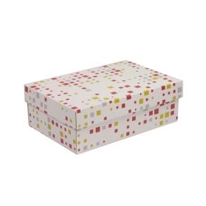 Darčeková krabica s vekom 300x200x100 mm, VZOR - KOCKY koralová/žltá