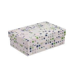 Darčeková krabica s vekom 300x200x100 mm, VZOR - KOCKY zelená/modrá