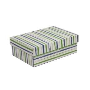 Darčeková krabica s vekom 300x200x100 mm, VZOR - PRUHY zelená/modrá