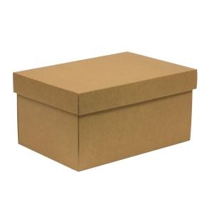 Darčeková krabica s vekom 300x200x150/40 mm, hnedá - kraft